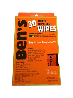 Ben's® 30% Tick & Insect Repellent Wipes, 12 per Box